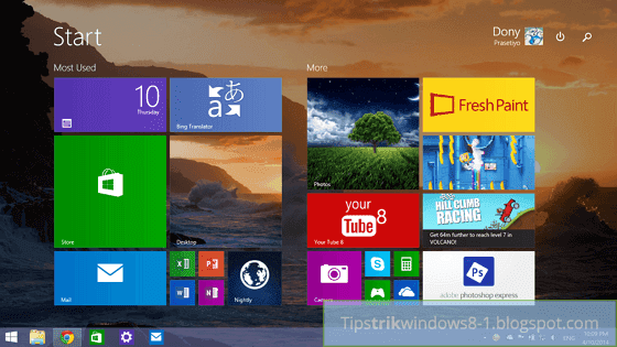 start screen di windows 8.1