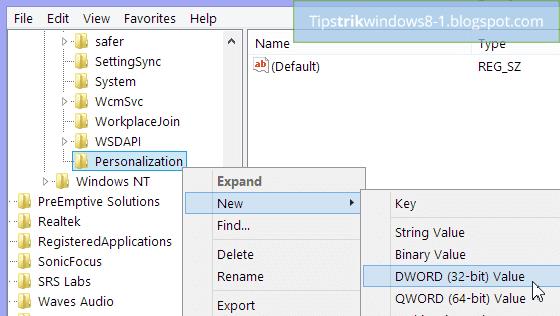 new dword  untuk menghilangkan lock screen di windows 8.1