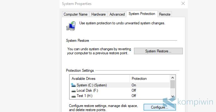 mengembalikan kondisi komputer ke semula
