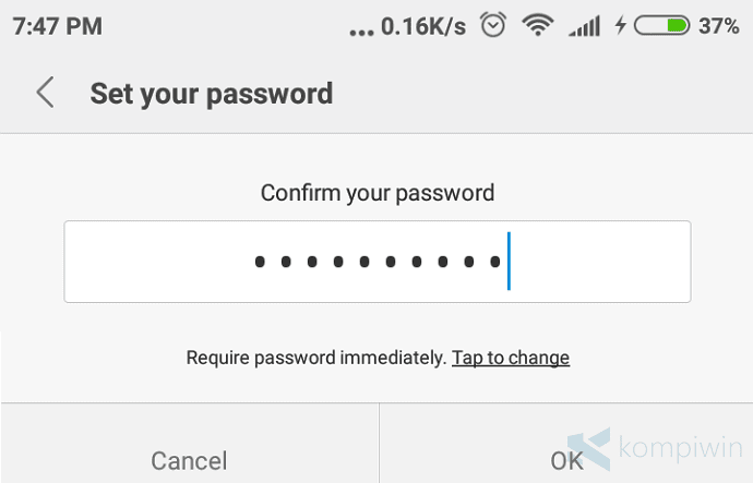 ubah password android