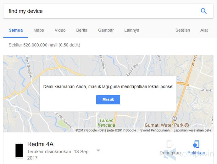 mencari hp android yang hilang