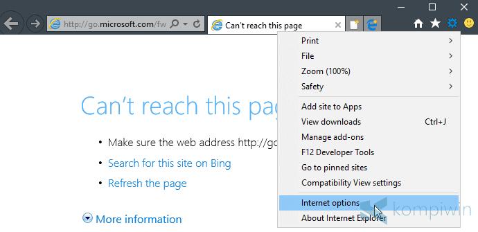 tools > internet options menghapus gambar