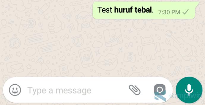huruf tebal whatsapp