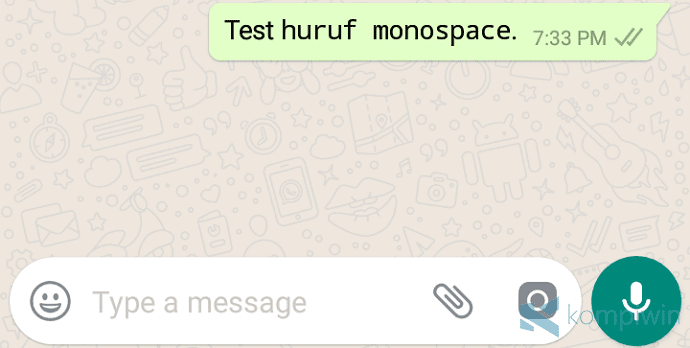 huruf monospace di whatsapp cara
