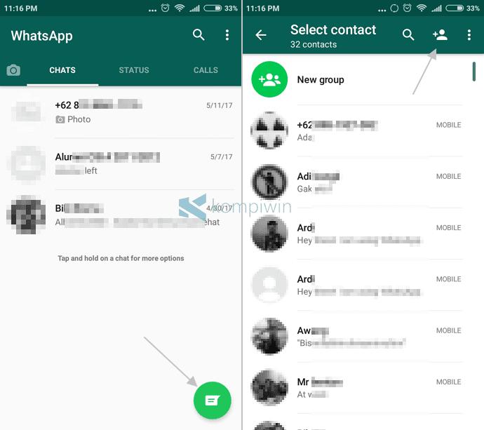 menambah kontak whatsapp