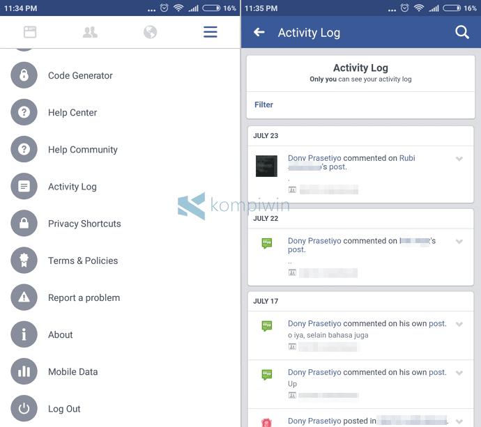 facebook history pencarian