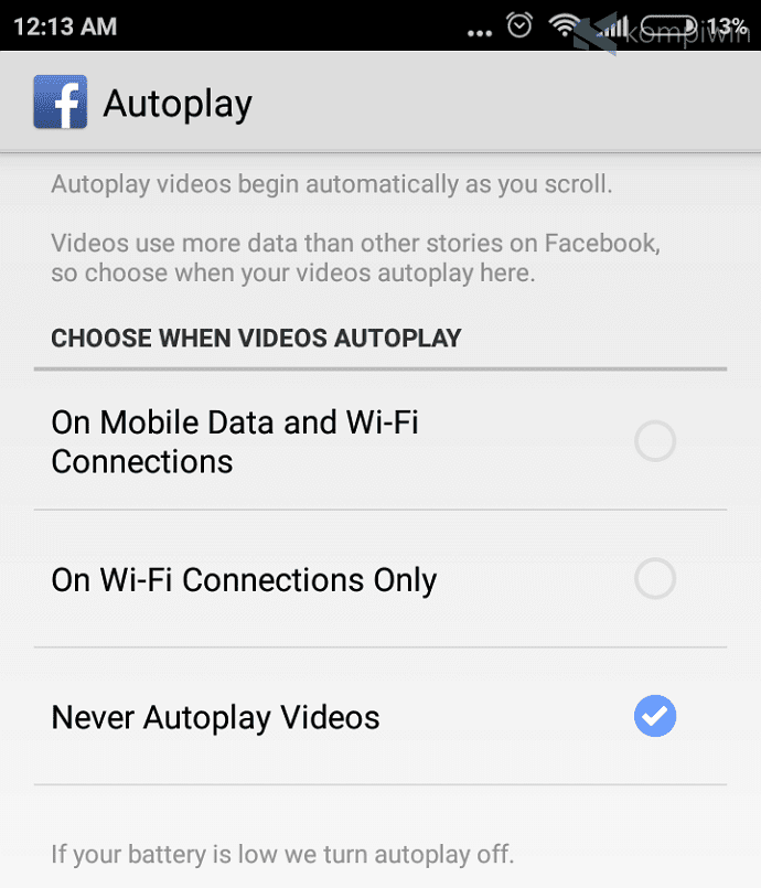 video autoplay facebook wifi data selular