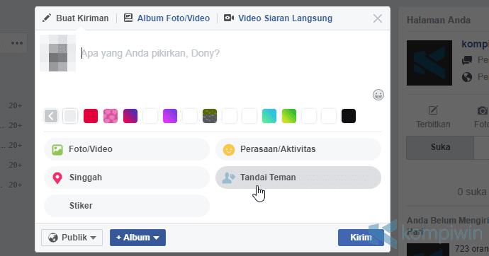 cara tag teman facebook